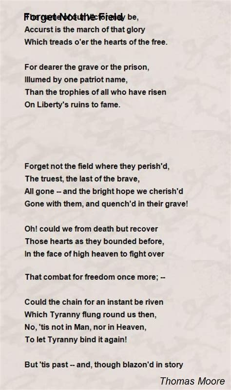 Forget Not The Field Poem by Thomas Moore - Poem Hunter