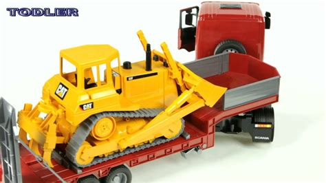 Bruder 03555 Scania R-Series Low Loader Truck with CAT