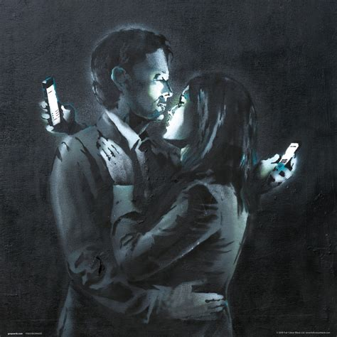 Banksy - Mobile Phone Lovers Close Up Festmény reprodukció