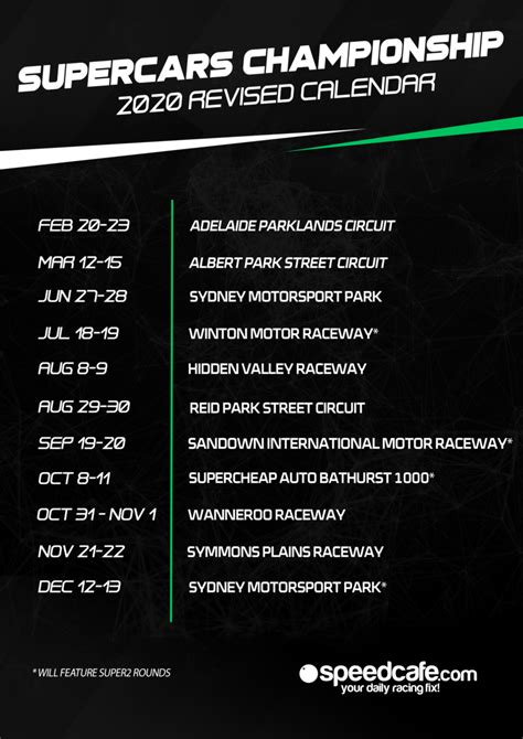 DOWNLOAD: Revised 2020 Supercars Championship calendar
