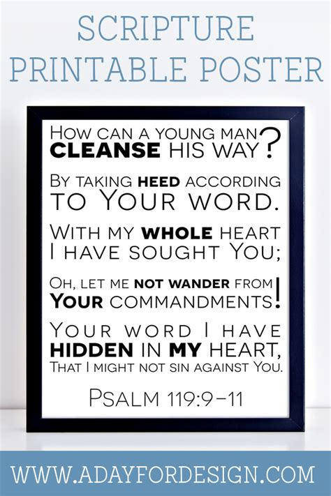 Psalm 119 Scripture Printable Poster — A Day For Design